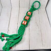 """Vintage 1970's Christmas Macrame JOY Block Door Hanger Decoration Green Red 19"""""""