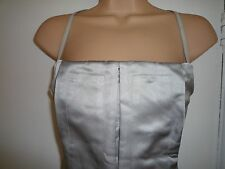 CALVIN KLEIN COLLECTION LUXE DRESS STEEL GREY SILK LEATHER CORSET TOP 8 BNWOT