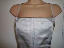 Calvin Klein Abito Seta Grigio acciaio e cinghie di cuoio corsetto Top 8 nuovo senza etichetta