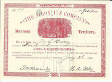 MONTANA TERRITORY Algonquin Company Stock Certificate 1881 Gold Mining
