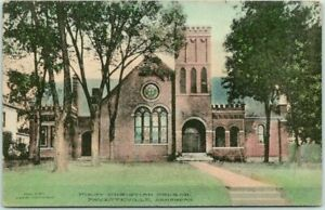 1912 FAYETTEVILLE, Ark. Postcard First Christian Church Hand-Colored FRED HARVEY