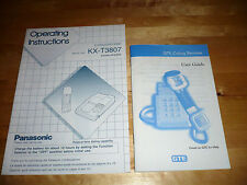 2 Vintage 1990s Phone INSTRUCTION Booklets GUIDES PANASONIC KX-T3807 GTE CORDED