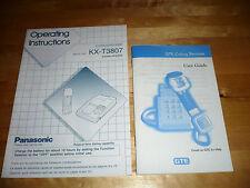 2 Vintage 1990s Phone INSTRUCTION Booklets GUIDES PANASONIC KX-T3807 GTE CORDED