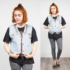 Button Denim Plus Size Waistcoats for Women