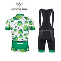Mens Cycling Bib Set Coolmax Bib Shorts Green Cycling Jersey Shirt Bike Wear Kit