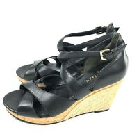 Cole Haan Black Leather Espadrille Wedge Sandals Womens Size 8.5 Strappy Nke Air