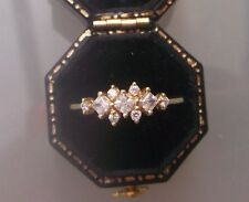 Women's 14ct Gold CZ Stone Cluster Ring Stamped Size O Weight 1.44g