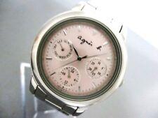Auth agnes b V33J-0010 Pink Silver 590868 Women's Wrist Watch