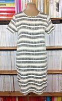 ZARA dress boucle fantasy tweed white black fringe S UK 8 US 4
