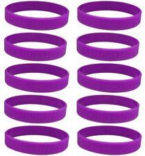 10 Purple Ribbon Awareness Bracelets - High Quality Silicone Bracelets