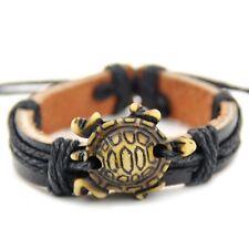cool man Surfer Sea turtle Pendant Leather Bracelet Adjustable S-140