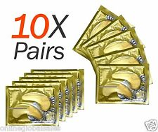 10 X Pairs Anti Aging Dark Circle Collagen 24k Gold Eye Patches Pad Mask Bag Gel