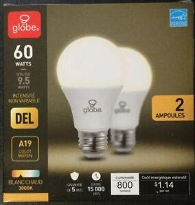 2 Pack LED Standard Size Soft Warm Light Bulbs 9.5 Watt = 60 Watt