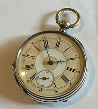 Nice Looking 48Mm Silver Key Wind Swiss Pocket Watch (F64)