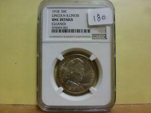 1918 Lincoln-Illinois Commemorative Silver Half Dollar - NGC UNC Details #063