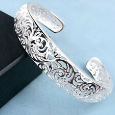 Women's 925 Sterling Silver Bezel Hollow Cuff Bangle Open Bracelet Well
