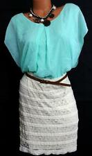 Maurices beige/mint green sheer lace bottom plus size belted dress 2 , 2X