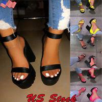 Women's Open Toe Chunky High Heel Ankle Strap Dress Sandal Platform Shoes Size