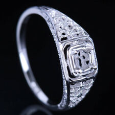 Fine Filigree Ring Round Cut 4mm Sterling Silver S925 Semi Mount Vintage Style
