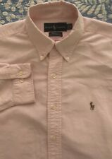 Mens Polo Ralph Lauren LS Pink Cotton Pony Dress Shirt 16-32/33 Large