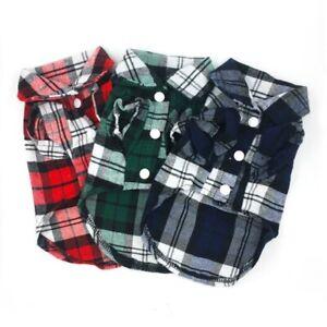Puppy Dog Pet Cat Plaid Shirt Blouse Flannel Coat Jacket Clothes Costume Top