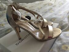 Brand New Dorothy Perkins Sparkly Gold Heels Sandals 5 Wide Fit