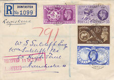 1949 KGVI DONCASTER YORKSHIRE COVER WITH UNIVERSAL POSTAL UNION STAMPS SET NICE