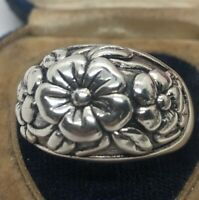 Vintage Sterling Silver Ring 925 Size 10.5 Band Flowers