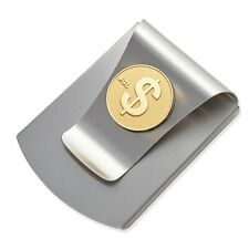 Storus Smart Money Clip with $ SIgn Medallion-Brushed Stainless Finish