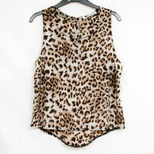 LEOPARD PRINT SLEEVELESS SOFT SINGLET TOP WITH CUT OUT AT BACK BY TEMT SIZE 12