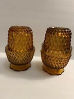 "Fairy Lamps Indiana Amber Glass Diamond Point Set Of 2 Lamps Vintage 5.4"" Tall"