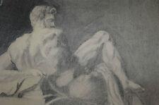 Disegno a Carboncino di una Statua Raffigurante il Corpo Nudo di un Dio Greco