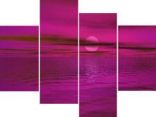 Pink Mauve Bright Colours Sea Multi 4 Panel Set Canvas Pictures Wall Art Prints