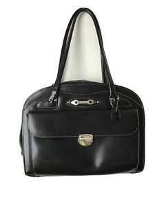 Mcklein Laptop Case Black Leather Womens Pockets Padded Lockable Travel Office