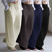UK Ladies Women Baggy Cotton Trousers Elasticated Wide Leg High Waist Pants 8-26