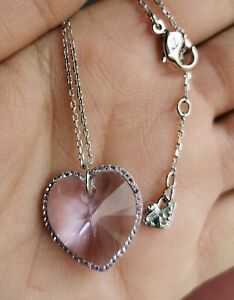 Authentic Original Signed Swarovski Necklace with Pendant Crystal's Heart Purple
