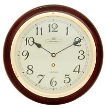 NEW 32cm SLIENT MOVEMENT SOLID TIMBER WOODEN STATION WALL CLOCK 96937A 1.5K