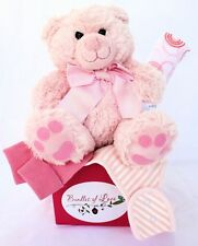 NEW BABY GIRL GIFT  Pink Teddy Bear Gift Hamper -  Baby Shower Gift, Baby Hamper