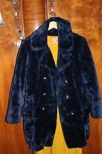 Roseanna Duncan Faux Fur Vintage Electric Blue PeaCoat (M)orange lining 90s