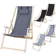 Liegestuhl  Klappbar Strandliege Campingstuhl Gartenstuhl mit Armlehne Holz