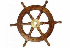 """Brass Wooden Ship Wheel Vintage Captain Pirate 18""""Antique Nautical Set Of 2 Gift"""