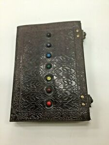 Medieval Embossed Leather Book/Journal Handmade Paper with Chakra Stones