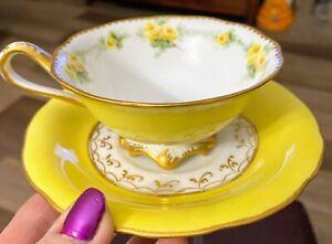 Limoges France Tresseman & Vogt T & V Tea Cup & Saucer 1892-1907 AMAZING YELLOW