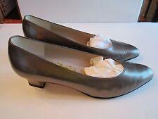 "Salvatore Ferragamo Ladies' Pewter Leather Pumps - Size 8 B - 2"" Heel In Box"