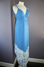 NWT Gypsy 05 La Ba Dee Blue Tie Dye Deep V Bamboo Twist Strap Maxi Dress M $143
