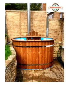OVAL WOODEN HOT TUB FOR 2 PERSONS MINI SPA Japanese wood fired spa ofuro