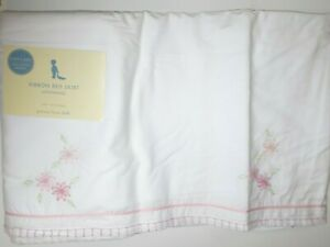 NWT POTTERY BARN KIDS RIBBON BED CRIB SKIRT WHITE WITH PINK FLORAL DETAILS