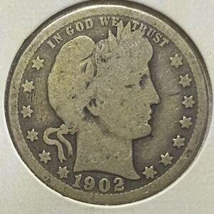 1902 Philadelphia Mint Barber Quarter Dollar Silver Coin