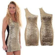 Women's Shoulder Strap Gold Sequin Plain Back Ladies Bodycon Short Dress 8-14