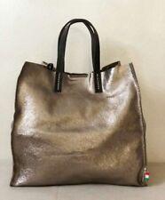 Borsa Donna Shopper Oro Bronzo In Vera Pelle Sfoderata E Pochette Abbinata